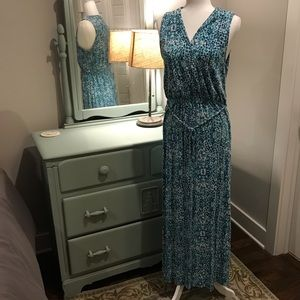 EUC Cynthia Rowley aqua mosaic sleeveless maxi XL